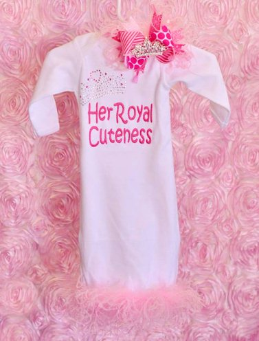 Her Royal Cuteness Newborn Bling Feather Gown-crown, princess, rhinestone, sac, sack, gown, layette, newborn, infant, take me home