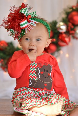 Chevron Gingerbread Cutie Holiday Outfit Set-red, green, gingerbread man, chevron, christmas, holiday, outfit, set, shirt, pants, boutique, cookie