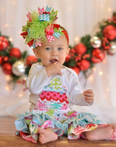 Baby Girls Yuletide Christmas Tree Holiday Outfit Set