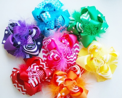Set of 7 Funky Bright Loopy Hair Bows-summer, chevron, hairbow, bows, bow, turquoise, blue, Kelley, green, yellow, hot pink, orange, red, purple