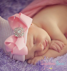 Sweet Pink Rhinestone Bow Newborn Boutique Hospital Hat-pink, hospital, newborn, infant, baby, girl, hat, bling