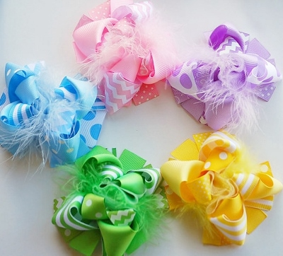 Set of 5 Funky Pastel Loopy Hair Bows-light pink, lavender, pink, blue, baby blue, green, yellow, chevron, hair, bow, set, bows