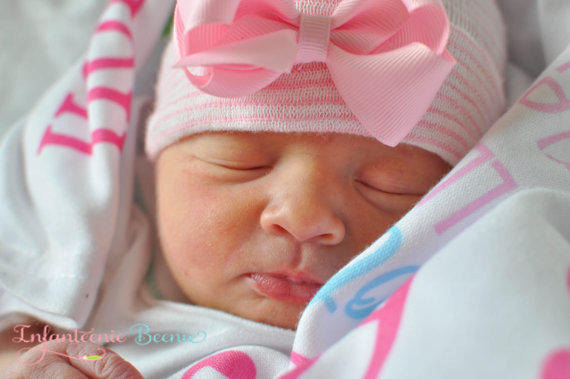 Sweet Pink First Bow Newborn Boutique Hospital Hat-pink, newborn, infant, hospital, hat, infanteenie beenie, pink bow hat, hospital hat