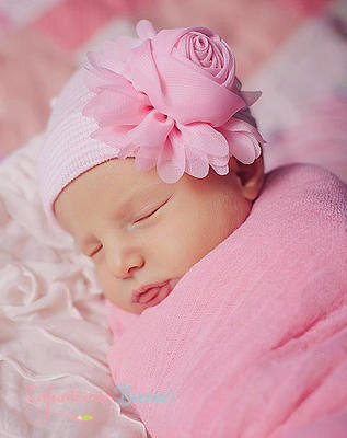 Our Sweet Rose Newborn Boutique Hospital Hat-pink, rose, hospital, hat, newborn, infant, baby, girl, infanteenie beenie, pink rose hat, hospital hat