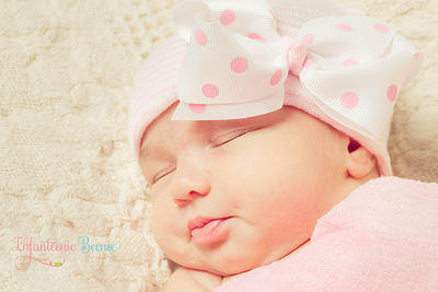 Pink Polka Dot Bow Newborn Boutique Hospital Hat-pink, white, newborn, infant, baby, girl, boutique, hospital, infanteenie beenie, pink bow hat, hospital hat