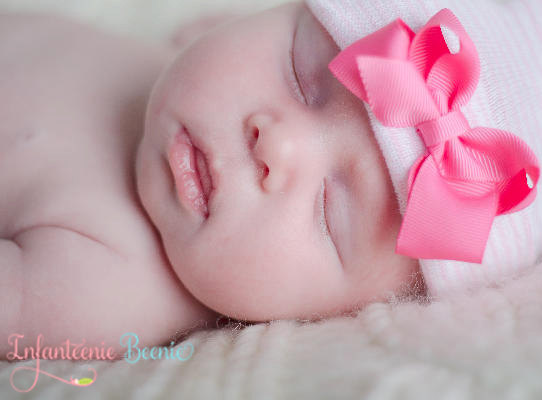 Her First Bow Newborn Boutique Hospital Hat-hot pink, newborn, infant, baby, girl, boutique, hospital, infanteenie beenie, pink bow hat, hospital hat