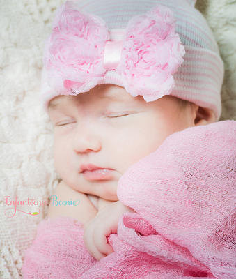 Light Pink Chic Rosette Bow Newborn Boutique Hospital Hat-chic, pink, newborn, hospital, infant, baby, girl, hat
