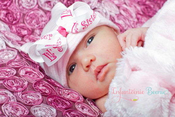 Little Sister First Bow Newborn Boutique Hospital Hat-little sister, lil sis, sis, sister, lil, little, pink, white, hot pink, hospital, hat, infant, newborn, baby, girl, infanteenie beenie, pink bow hat, hospital hat