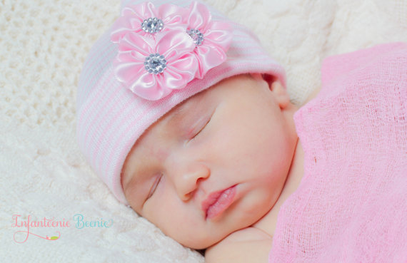 Pink Elegance Rhinestone Flower Newborn Boutique Hospital Hat-pink, bling, rhinestone, flower, newborn, infant, baby, girl, hospital, pink