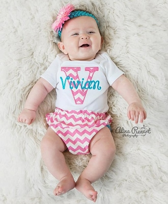 Hot Pink & Turquoise Chevron 3pc. Infant Outfit Set-hot pink, turquoise, blue, summer, newborn, infant, baby, girl, boutique, outfit, set, onesie, bloomer, headband