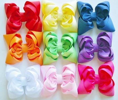 Set of 9 Solid Color Layered Boutique Hair Bows-red, yellow, blue, orange, green, purple, white, pink, hot pink, bows, set