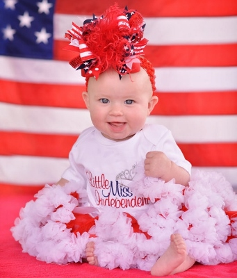 Lil Miss Independent American Princess Baby Girl Onesie-Red, White, Blue, July, 4th, Memorial, Day, Independence, Embroidered, Shirt, newborn, infant, baby, girl, forth, fourth, fireworks, crown, tiara, princess