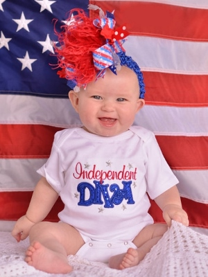 Independent Diva All American Baby Girl Onesie-Red, White, Blue, July, 4th, Memorial, Day, Independence, Embroidered, Shirt, newborn, infant, baby, girl, stars, fireworks, forth, july, patriotic