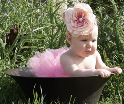 Pink Peony Nylon Flowerband-