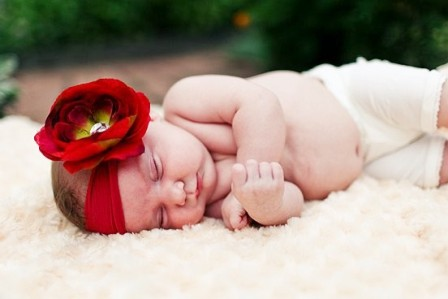 Red Ranuculus Nylon Flowerband-newborn
