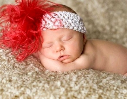 Curly Red Ostrich Featherband-headband, christmas, newborn, holiday