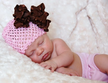Large Brown Double Ruffle Bow Waffle Beanie-pink and brown, newborn, infant, baby girl, hat