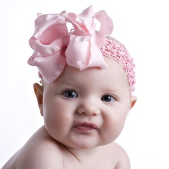 Lt. Pink Double Ruffle Hair Bow Headband