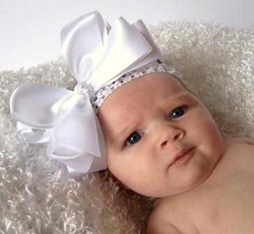 Dressy White Satin - Lg. 5in Bowband-fancy, infant, baby, headband, christening, wedding, baptism