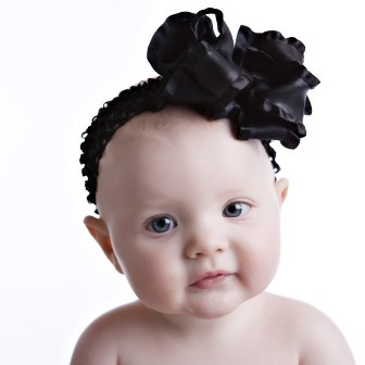 Black Double Ruffle Hair Bow Headband