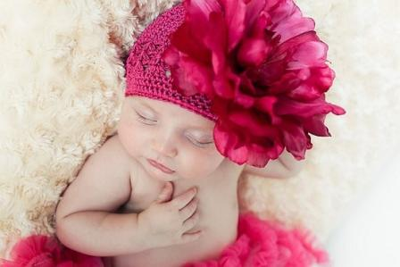 Raspberry Pink Chrochet Flower Hat