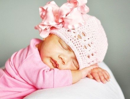 Large Pink Double Ruffle Bow Infant Beanie-pink boutique crochet, newborn, infant, hat