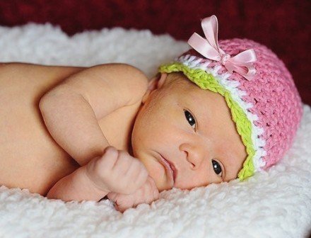 Sweet Summer Newborn Melon Beanie-pink, lime, crochet, knit, infant, baby, boutique, newborn hat