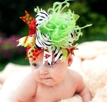 Zebra Grinch - Over-the-Top Headband Hair Bow-bow, holiday, lime, red, infant, baby, headband