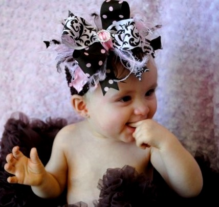 Glitzy Pink & Brown - Over-the-Top Hair Bow Headband-brown and pink, damask, scroll, bling, hairbow, headband, infant, baby girl boutique
