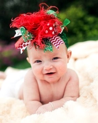 Sweet Red & Green - Over-the-Top Headband-bow, holidays, baby, hair bow, hairbow, infant, christmas