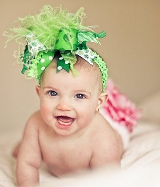 Shades of Green Shamrock - Over-the-Top Hair Bow Headband-green, st. patrick's day, st. patricks day, infant, baby girl, headband, hairbow, boutique