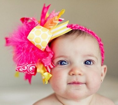 Shocking Pink & Yellow - Over-the-Top Hair Bow Headband-yellow, pink, infant, baby girl, boutique hairbow, headband