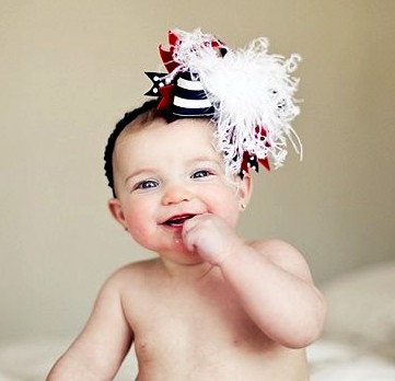 July 4th Red White & Blue - Over-the-Top Hair Bow Headband-navy blue, red, white, patriotic, infant, baby girl, headband, hairbow, july 4th, 4th of july, american, flag