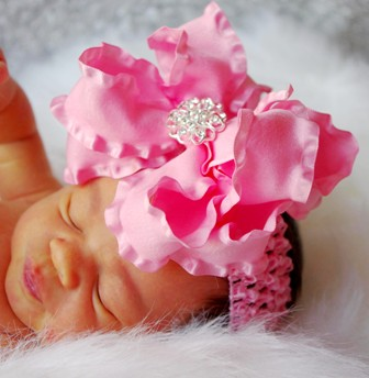 Large Pink Double Ruffle Swarovski Hair Bow Headband-pink, infant, baby girl boutique haribow, headband, bling, rhinestone
