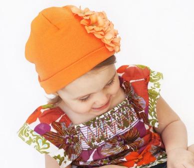 Orange Garden Geranium Flower Hat-orange, fall, halloween, thanksgiving