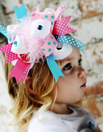 Cotton Candy - Over-the-Top Hair Bow Headband-turquoise and pink, boutique over the top hair bow, infant, baby, headband