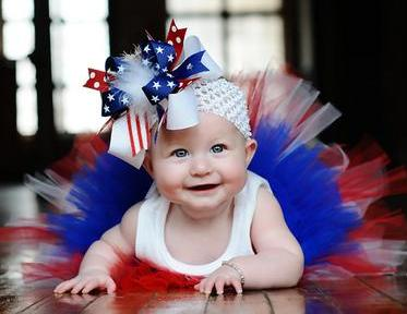 July 4th - Over-the-Top Hair Bow Headband-Red white & blue, american, stars, 4th of july, infant, baby girl headband, boutique, hairbow