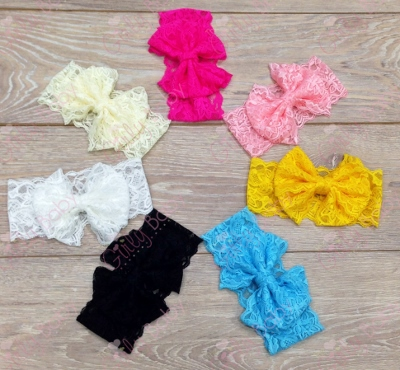 Choose Color Messy Bow Lace Head Wrap-lace hair bow, lace messy bow, lace headband, newborn, dressy, fancy, baby, girl, infant, hairbow, hair bow, headband, choose, color, solid color, you choose