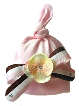 Tiffany Baby Flower Hat-pink, brown, flower, hat, newborn, infant, baby girl