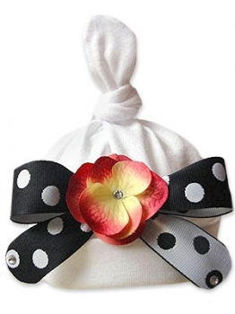 Zoey Baby Flower Hat-black, white polka dot flower hat, infant, baby, newborn