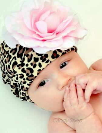 Leopard & Light Pink Flower Hat-