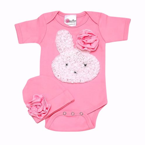 Little Bunny Too Cute Romper Set-little, bunny, too cute, romper, set, onesie, pink, rabbit, flower, white, Easter, spring