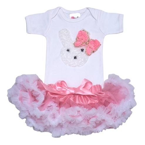 Little Bunny Baby Pink Pettiskirt Set-light pink, rabbit, bunny, easter, pink, white, tutu, outfit, set, onesie