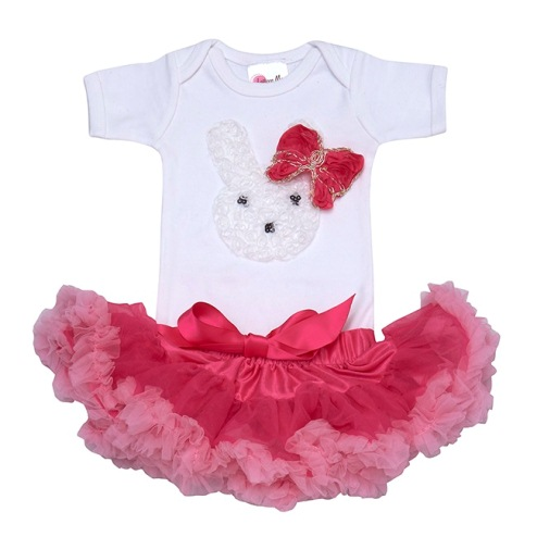 Little Bunny Hot Pink Pettiskirt Set-tutu, onesie, rabbit, bunny, outfit, set, easter