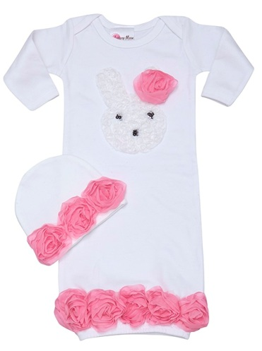 Little Bunny Love Baby Gown Set-Pink, white, easter, newborn, infant, gown, sac, sack, take me home, hat, spring
