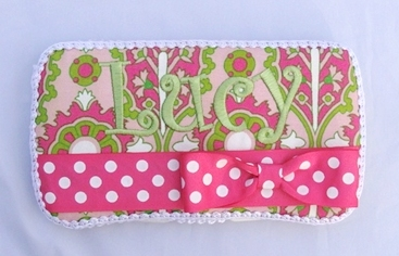 Lucy Elizabeth Wipe Case-hot pink and green, baby wipe case, wipey, infant