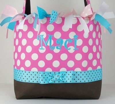 Bubblegum Dots Boutique Diaper Bag-brown, pink, aqua, hot pink