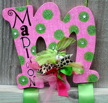 Lime Polka Dots Hair Bow Holder