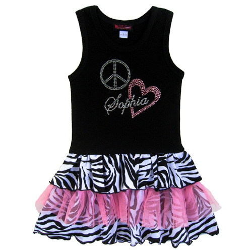 Peace Love Zebra Personalized Tutu Ruffle Dress-animal print, pink, ruffles, ruffle, bling, dress