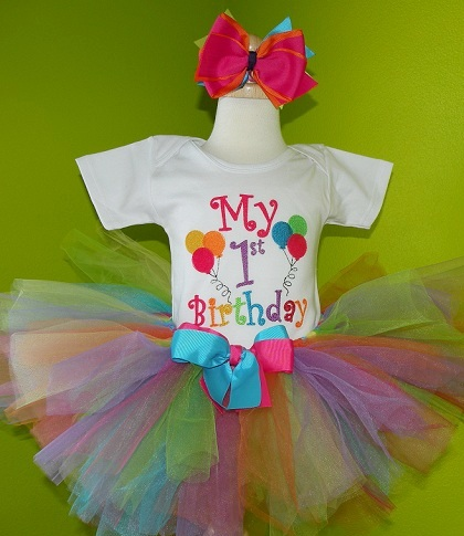 Colorful Balloons Birthday Party Tutu Set-birthday party, 1st birthday, tutu set, outfit